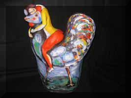 «Петух» или «Утро с Шагалом» - антивещица на чайник. Холст, лепка, роспись.